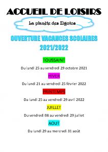 dates d'ouverture vacances scolaires 2021-2022