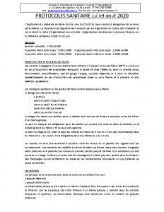 Protocole sanitaire juillet et août 2020