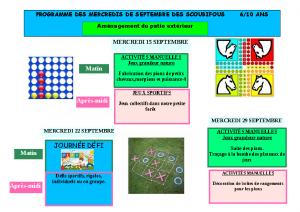 programme des mercredis de septembre 2021